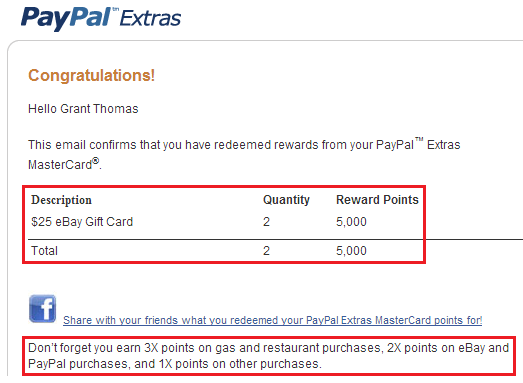 PayPal Extras MasterCard for Ebay and PayPal Purchases