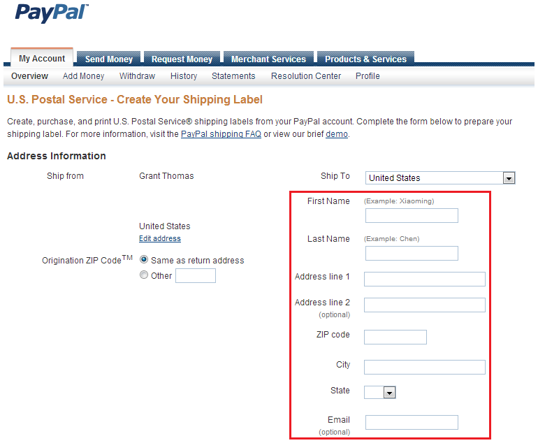 print usps and ups shipping labels from your paypal account