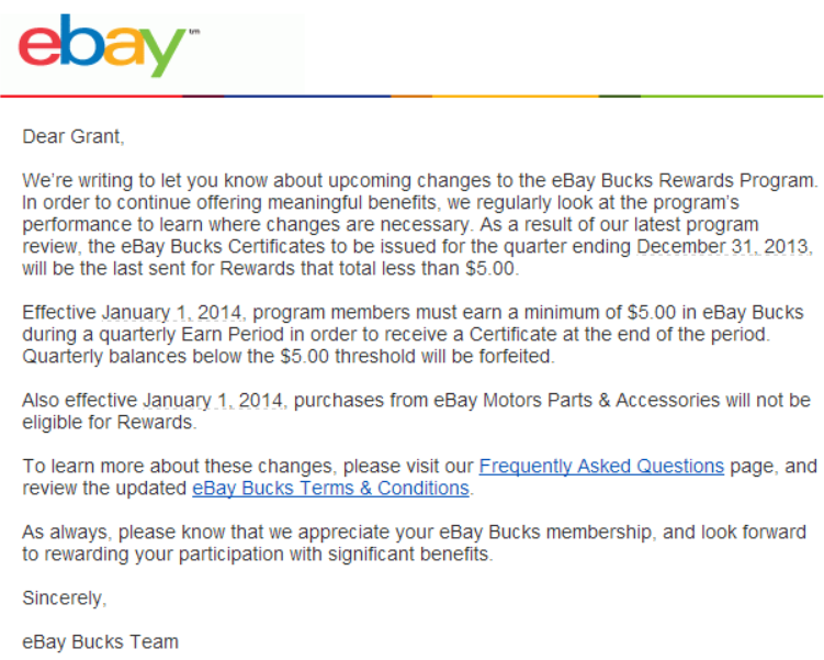 New Ebay Bucks Rules