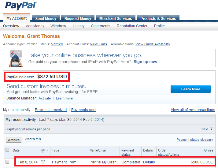 load paypal account