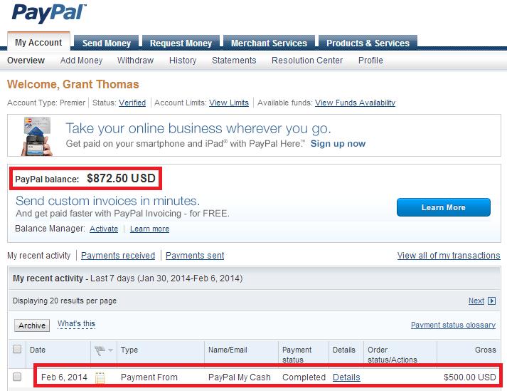 New Paypal Account Balance
