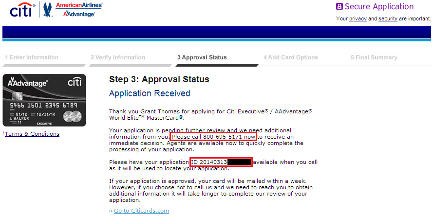 Citi Credit Card Application Status >> 5 Credit Card Applications, 4 Approvals, 3 Reconsideration ...