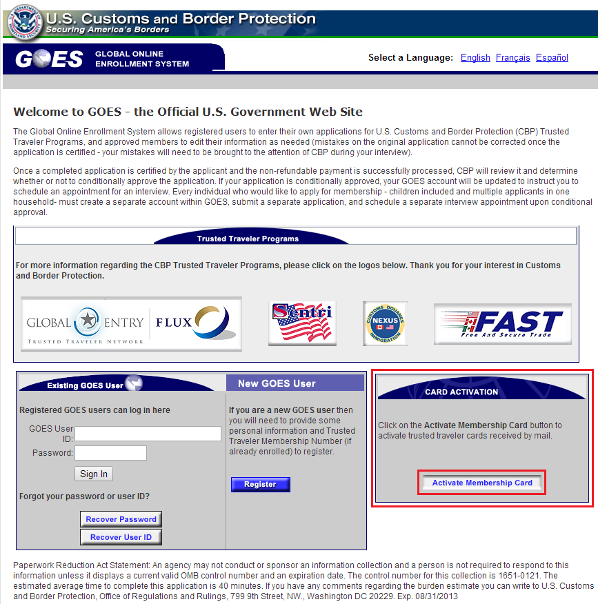Activate Global Entry Card Home Page