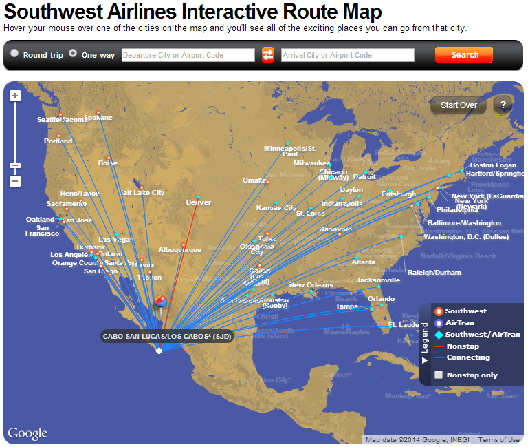 Super ShuttleTravel With Grant – Southwest Airlines Travel Map