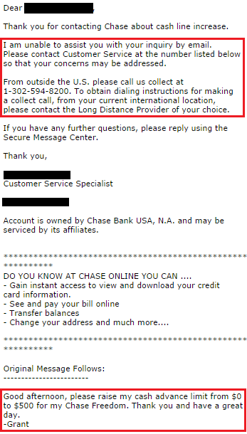 asking for credit limit increase