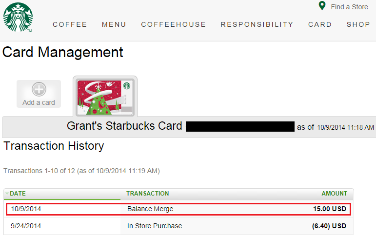 New Starbucks Gift Card Balance