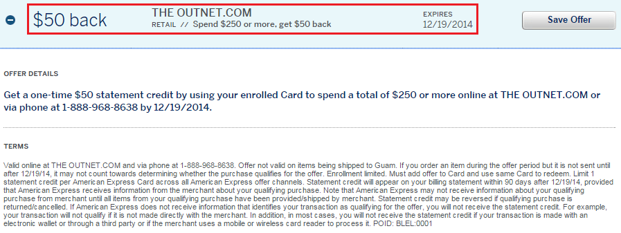 The Outnet AMEX Offer