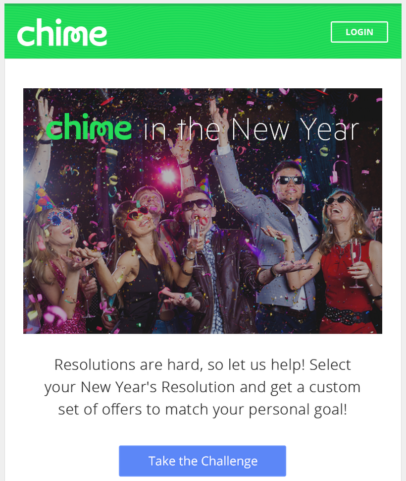 Chime New Years Email