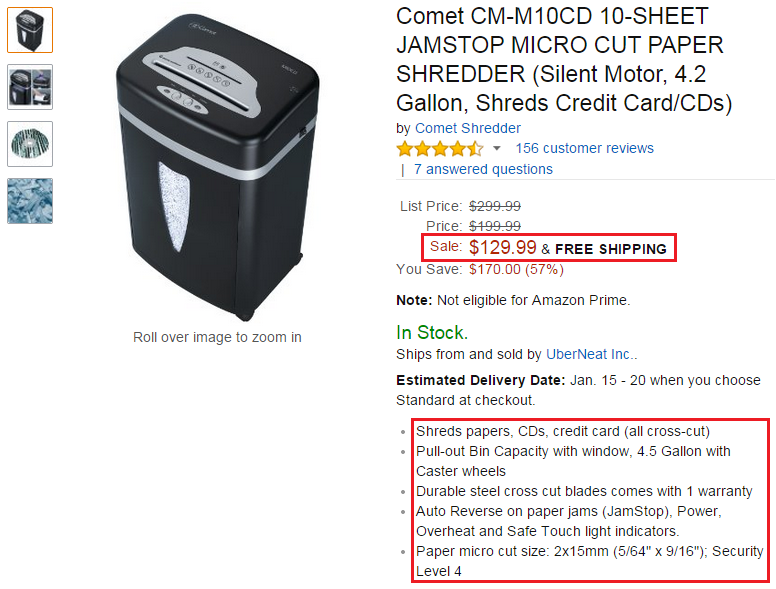 Comet shredder on amazon for Bank of america document shredding