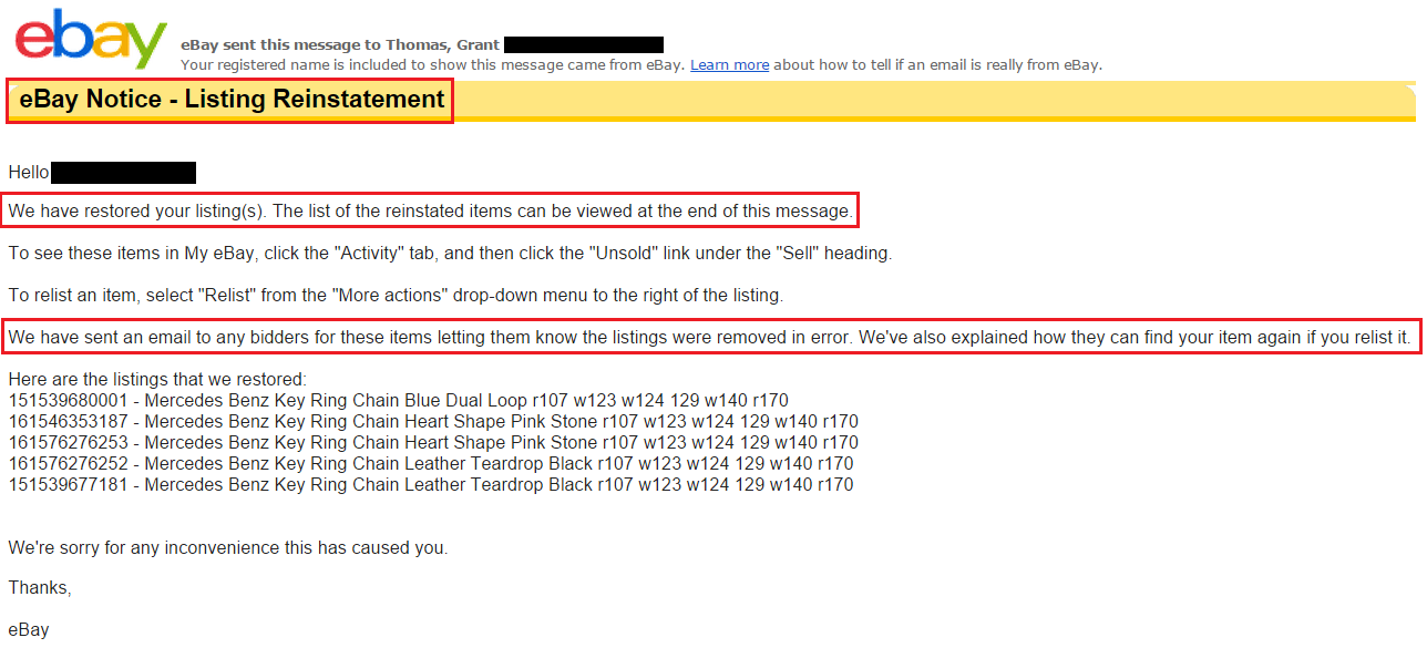How to Reinstate Ebay Listings that were Removed for