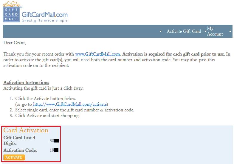 Gift Card Mall GCM Activation Code Email
