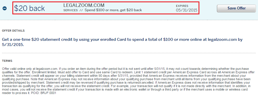 Legal Zoom AMEX Offer