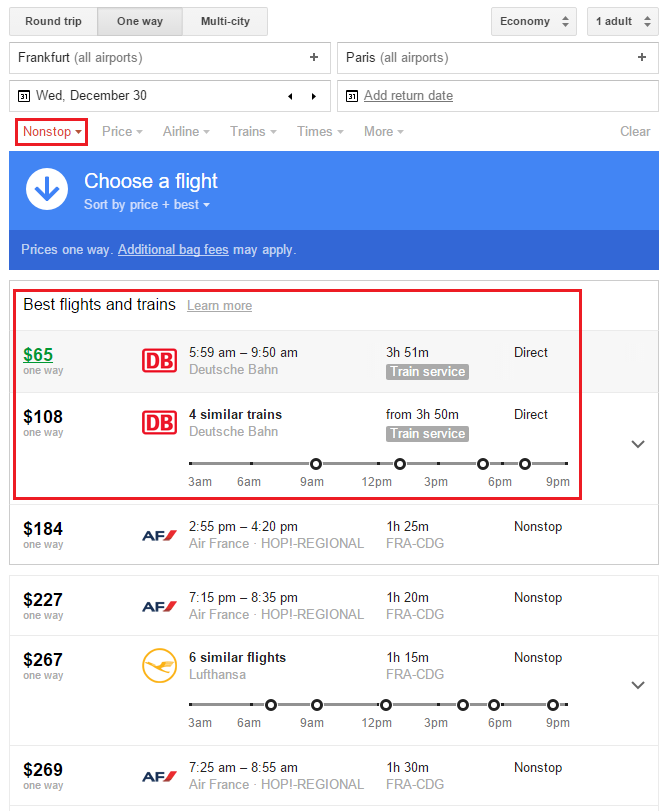 Google Flights Search FRA-CDG