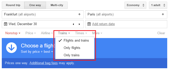 Google Flights Search Trains Flights