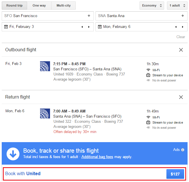 google-flights-sfo-sna-ua-rt-feb-3-6