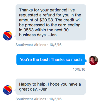 Quick refund processing from @SouthwestAir on Twitter.