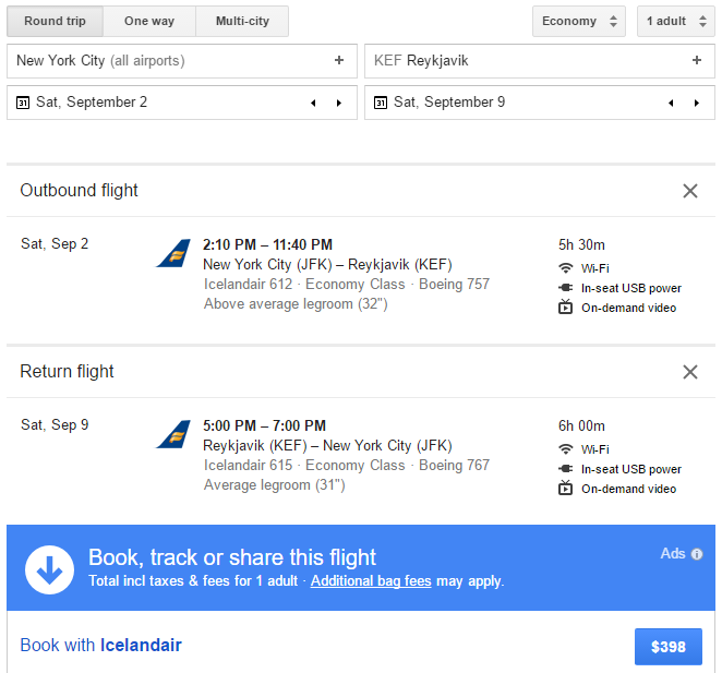 Google Flights JFK-KEF Icelandair