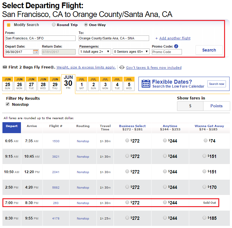 Search SFO-SNA Southwest Airlines Flights