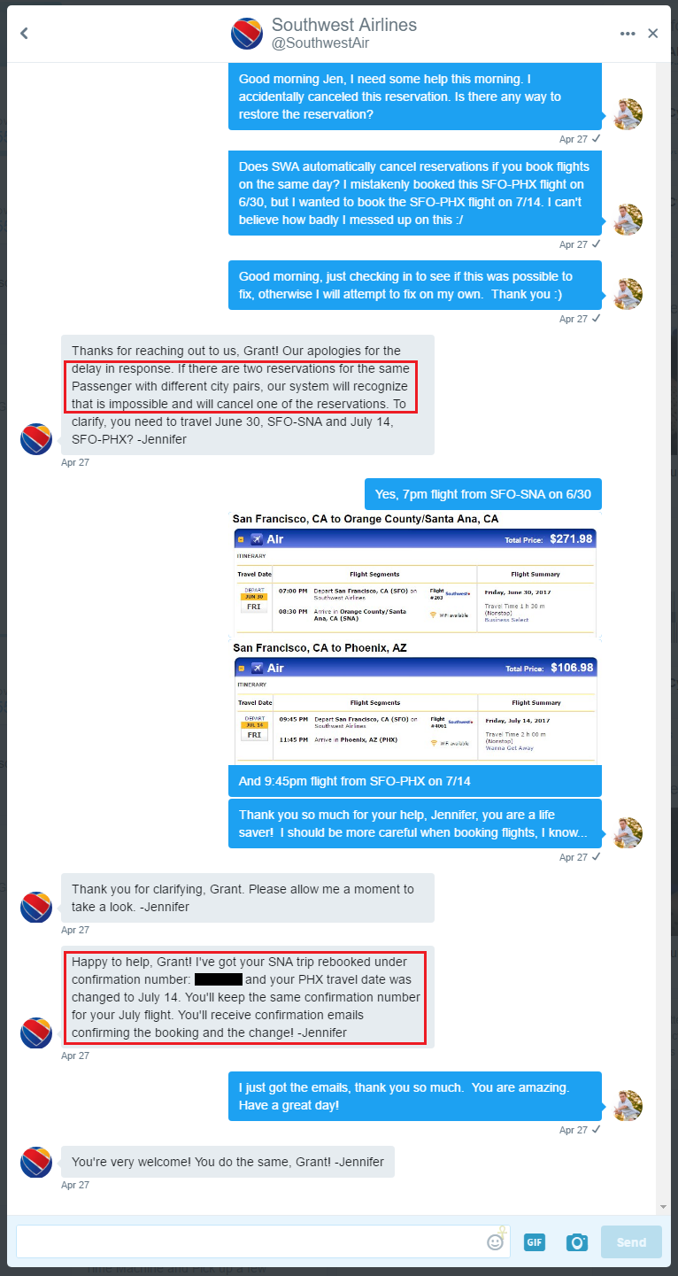 Twitter Direct Mesage with Southwest Airlines 4-27-2017