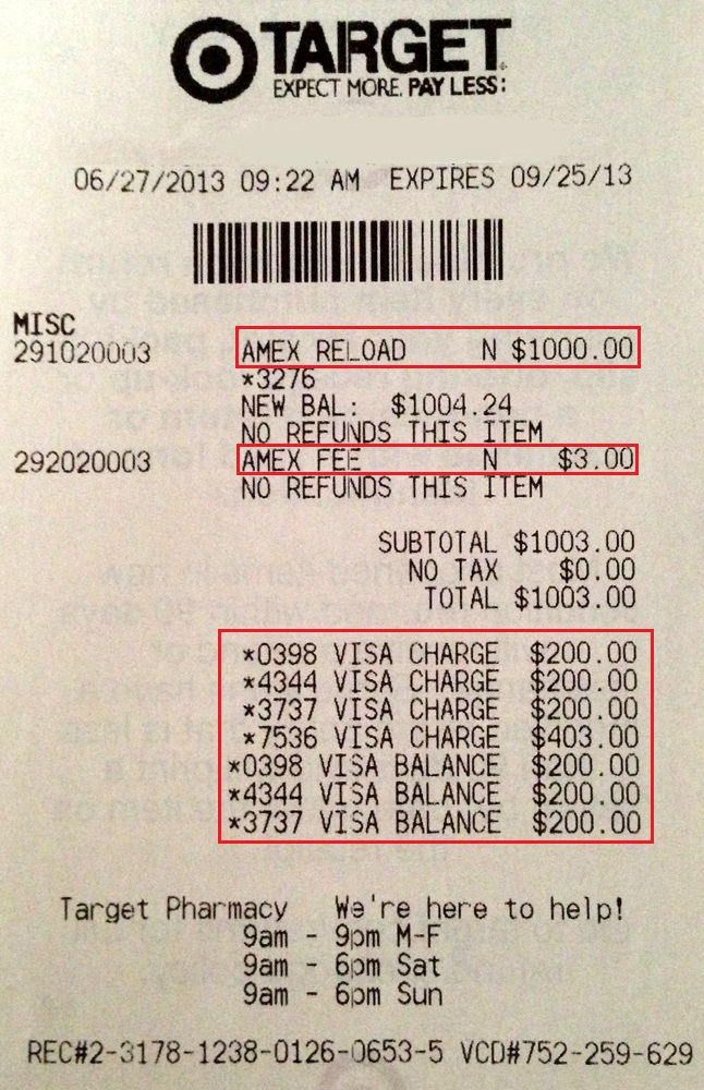 Citibank Prepaid Card Balance >> Target Receipt | Travel with Grant