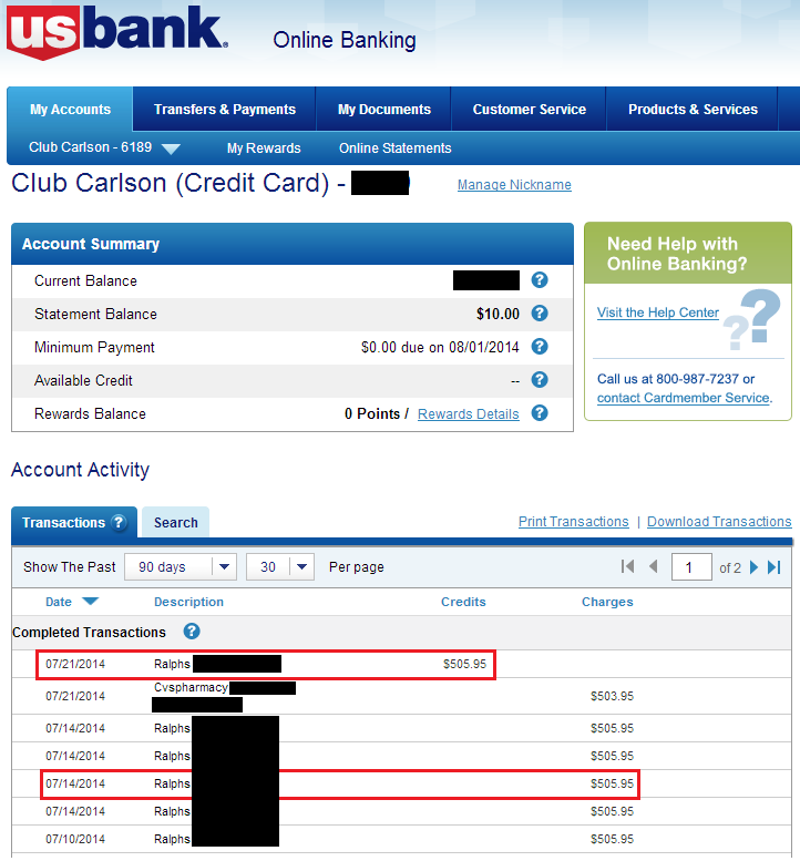 direct deposit form us bank US Bank Club Carlson Ralphs Refund   Travel with Grant