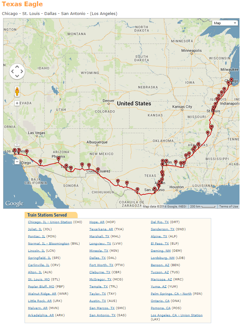 Texas Eagle Route Map Texas Eagle Amtrak Map | Travel with Grant