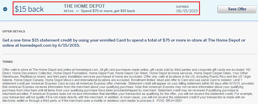 Home Depot AMEX Offer