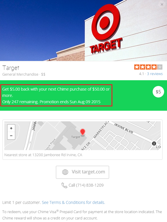 Chime Card Target Offer $5 Off $50