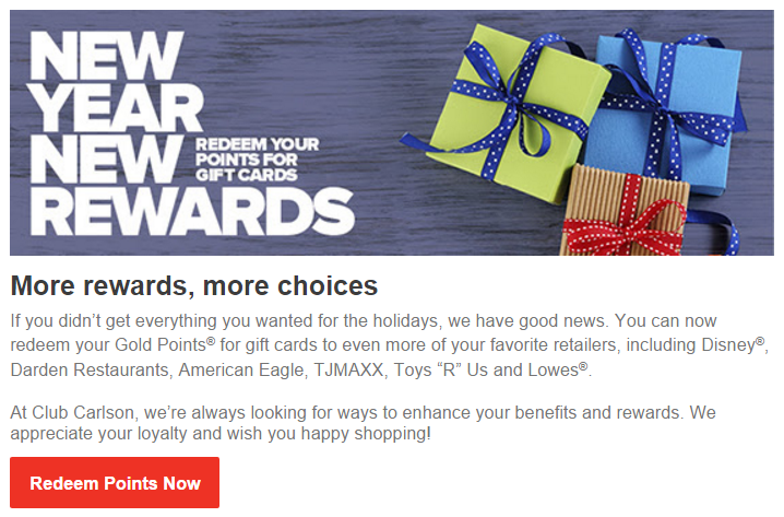 Club Carlson Redeem for Gift Cards Email