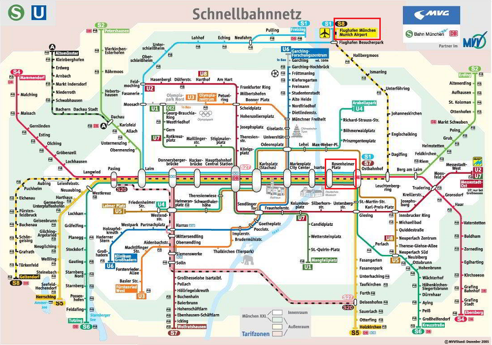 Munich Airport to Hilton City S Bahn Map