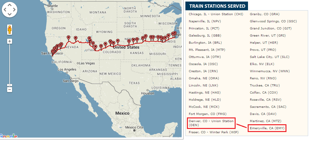 Amtrak California Zephyr Route Map | Travel with Grant