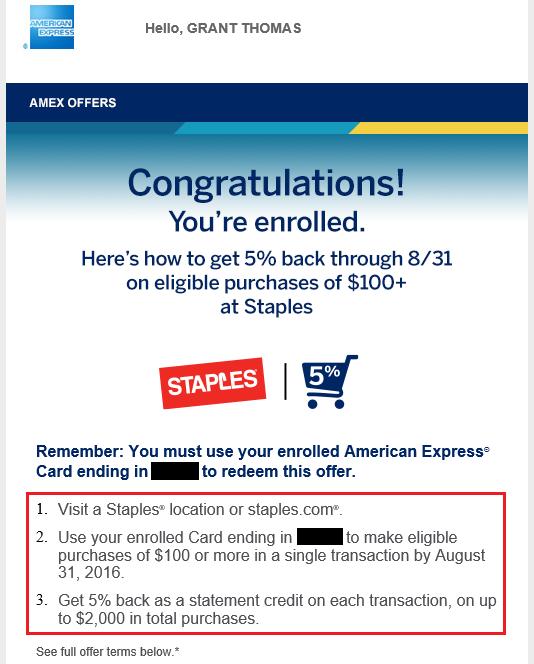 Staples AMEX Offer Enrollment Email
