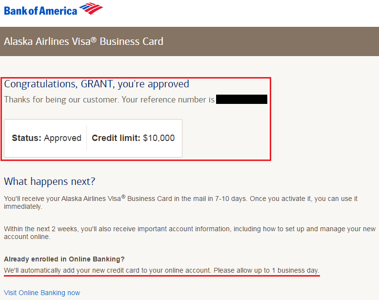 Bank of america alaska airlines business credit card approval bank of america alaska airlines business credit card approval message reheart Choice Image