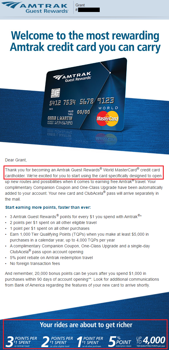Bank of America Amtrak Guest Rewards Approval Email