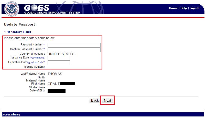 Global Entry Update Passport Info New