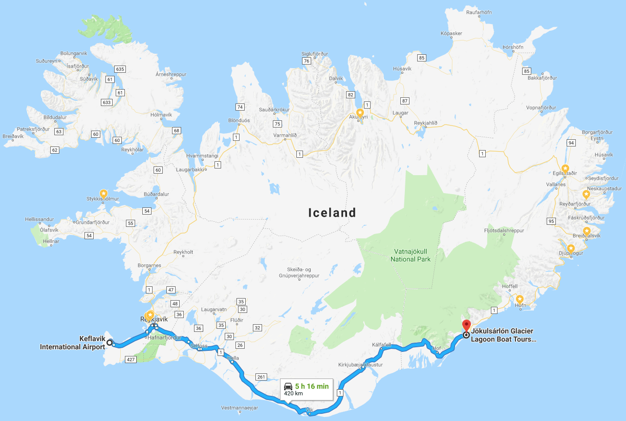 Google Maps KEF Iceland Airport to Glacier Lagoon | Travel with Grant