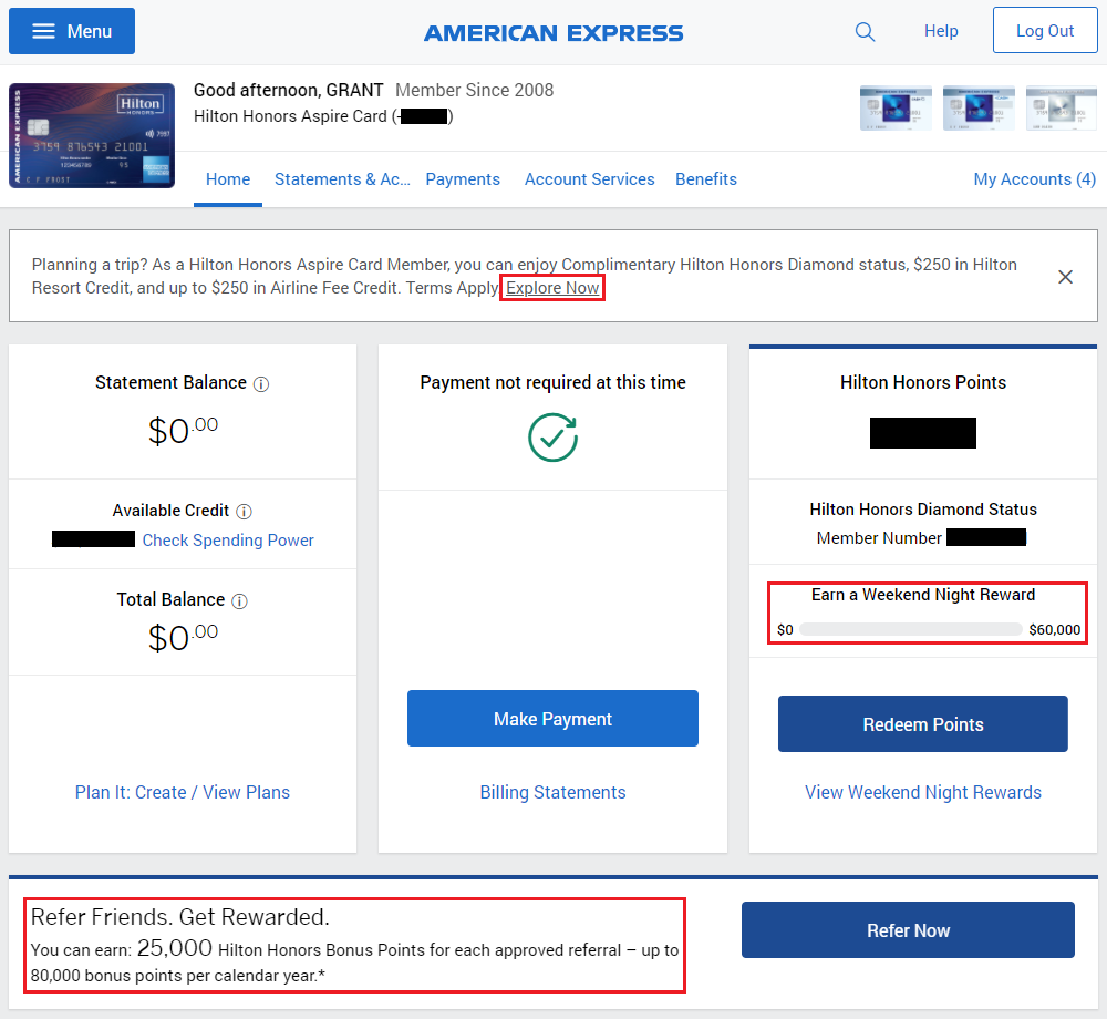 american express hilton honors aspire credit card spend tracker
