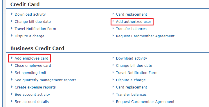 Pet peeve adding authorized users to chase business credit cards rant if i want to add an employee authorized user i click the add employee card link under the business credit card tab reheart Image collections