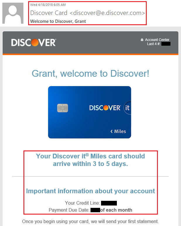 Discover It Miles Credit Card Shipped Email  Travel with Grant