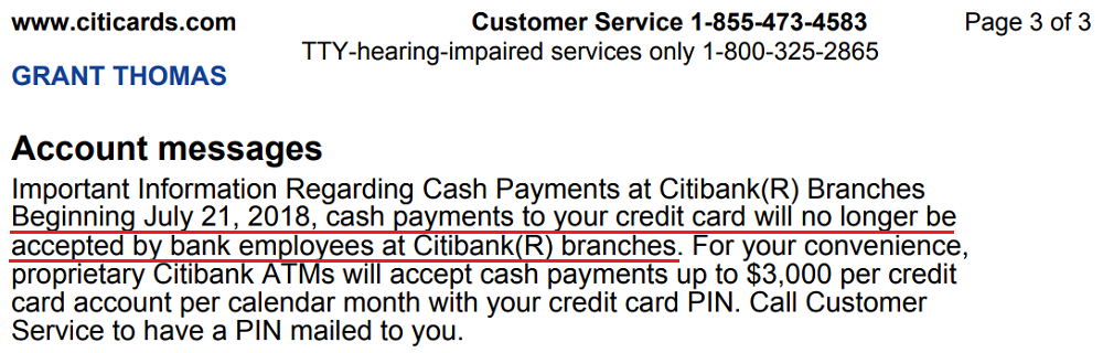 Check Your Citi Application Status Citibank >> Cash Payments Will No Longer Be Accepted For Credit Cards At Citi