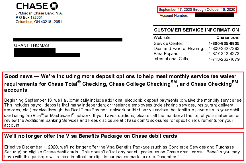 Chase Checking Accounts More Ways To Waive Monthly Service Fees Debit Card Benefits Ending Nov 30