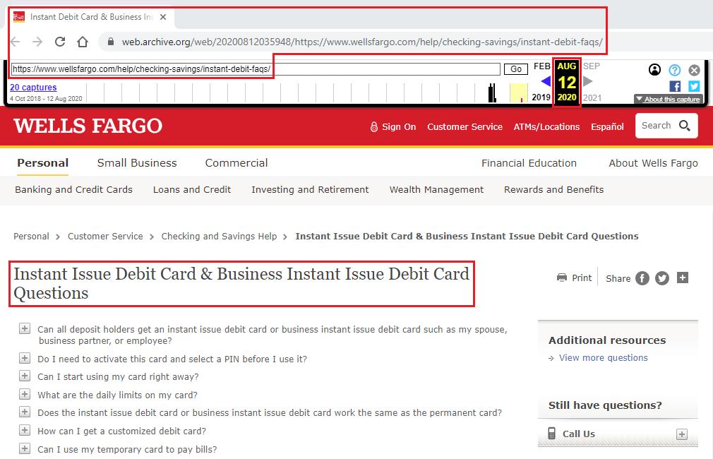 Wells Fargo Discontinues Instant Issue Debit Cards (Effective